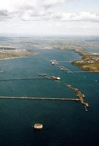 Aerial view of Milford Haven waterway