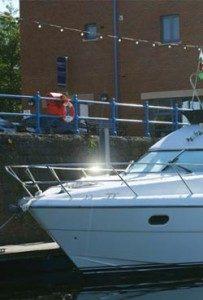 Motor boat in marina